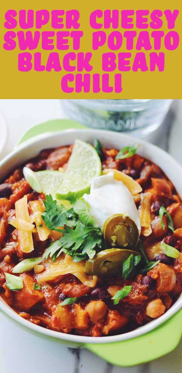 This Cheesy 3 Bean Sweet Potato Chili is the perfect hearty vegetarian pantry staple. It's packed full of protein, flavor, and of course — cheesy goodness! Whether you serve it in a bowl, over pasta, or scooped up with chips, it's a dish that's guaranteed to make your family smile!