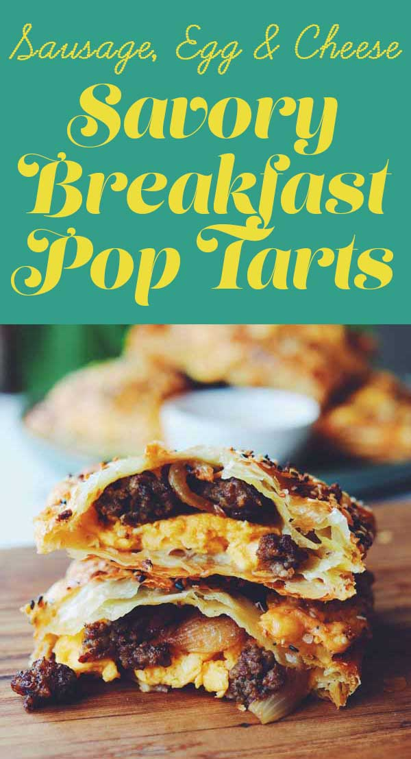 These savory breakfast pop tarts are the perfect way to start your morning. They're stuffed with cheesy scrambled eggs, crispy sausage, sweet onions. On the outside, flaky puff is coated in everything bagel seeds and cheddar cheese and baked until crispy and golden brown. I recommend serving them with hot honey but you could try syrup, ketchup or hot sauce!