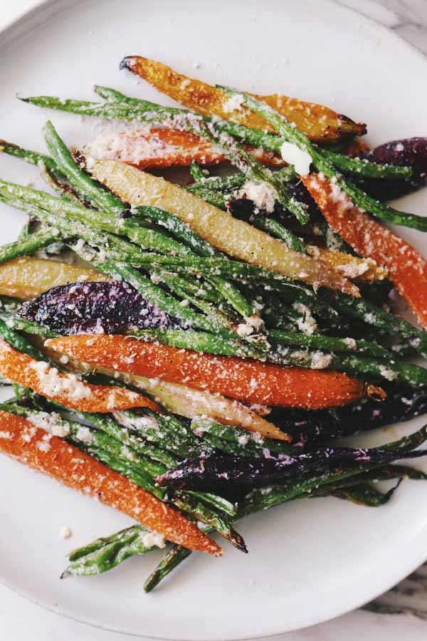 roasted green beans and carrots