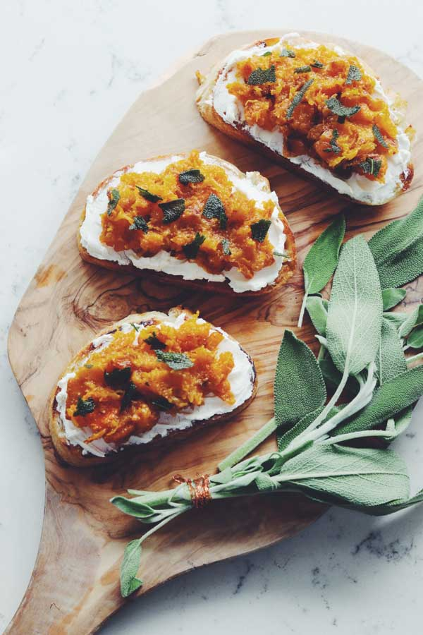 caramelized butternut squash toast