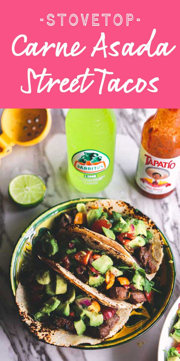 These Carne Asada inspired Street Tacos are the perfect stovetop alternative to the traditional grilled variety! Tender cubes of steak are marinated then sautéed to create tender and delicious carne asada bites. On top, a simple avocado salsa adds the perfect pop of freshness!
