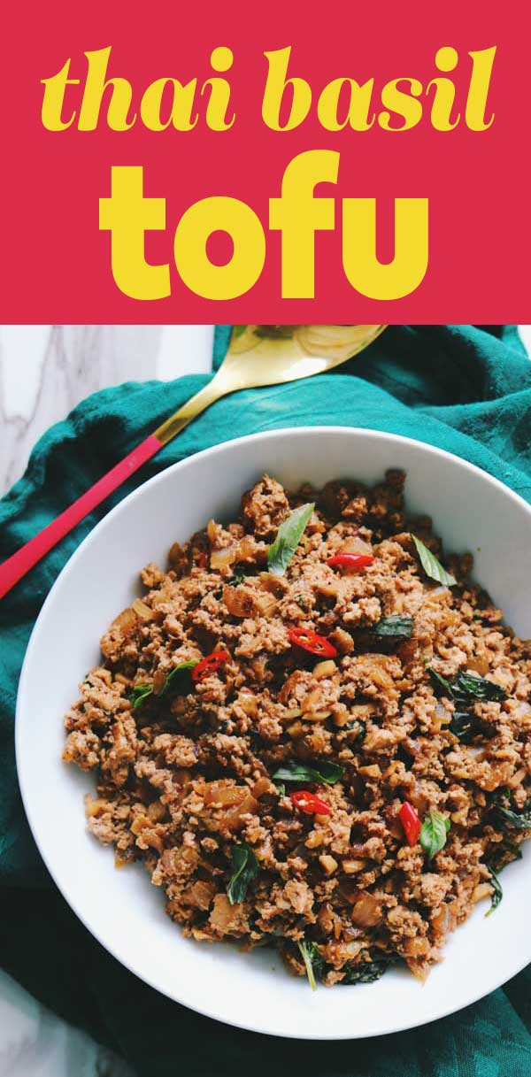 These Thai Basil Tofu Rice Bowls are the perfect vegetarian takeout style dish! Sweet and savory ground tofu is tossed with fragrant Thai basil and spicy Thai chilis. It's super easy to make and it tastes delicious!