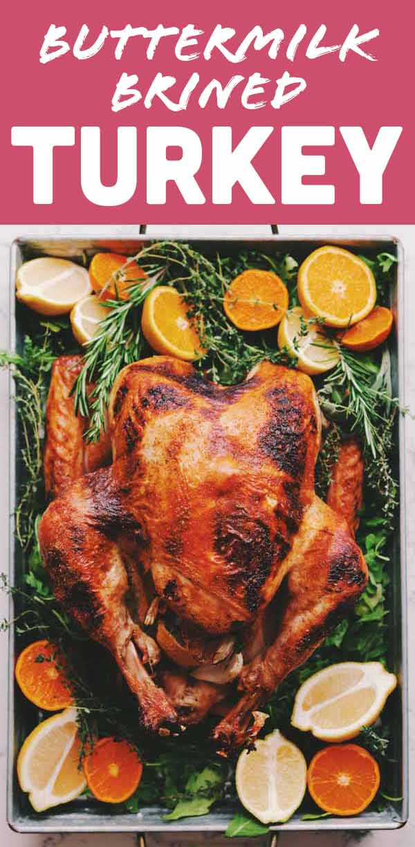 This buttermilk brined turkey recipe is thee easiest way to brine a turkey! Not only will it save you time and effort but the turkey will be moist, flavorful and beautiful! All you need is a fresh turkey, buttermilk, hot sauce, butter and your favorite seasoning blend! Best of all, there's no boiling or waiting for the brine to cool!