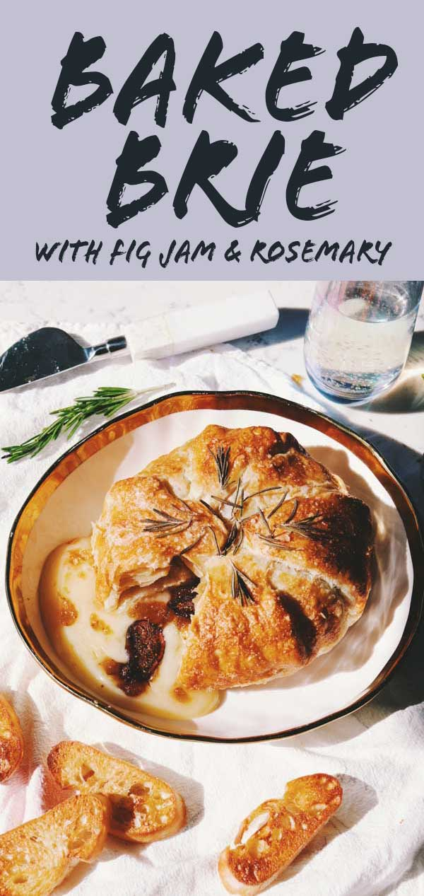 Baked Brie with Fig Jam might just be the perfect holiday appetizer of all time! It's earthy, sweet, melty and crunchy and can be made in under 25 minutes. It's a simple recipe that is absolutely beautiful and impressive once served. You and your guests will love it!
