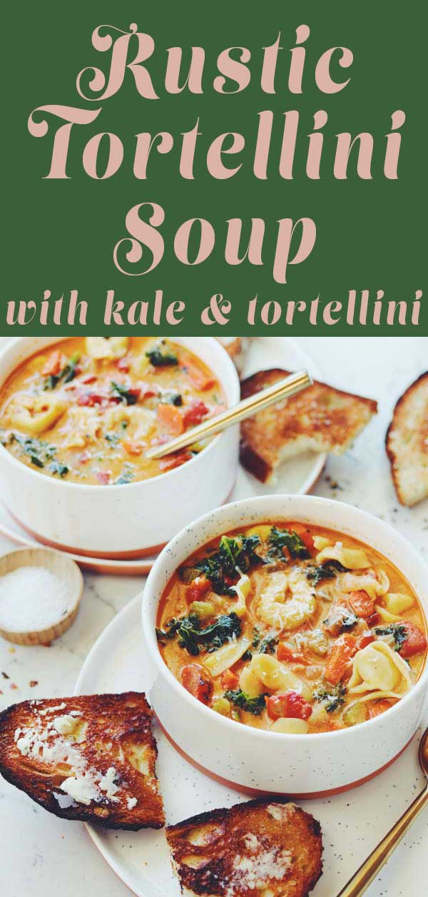 This rustic tortellini soup is what dreams are made of! Creamy tomato broth is loaded carrots, celery, onion, kale, red pepper flakes, parmigiano and cheese tortellini. And although the soup itself is vegetarian, you could definitely bulk it up with some italian sausage or even some diced chicken.
