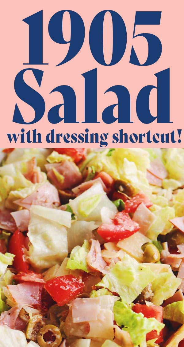 If you're from Florida, you know that 1905 Salad is one of the most iconic dishes of our state! This hearty salad, originally created by the Columbia Restaurant, is so flavorful and delicious. It's made with iceberg lettuce, ham, swiss, tomato, olives, romano cheese and a super amazing dressing. And although I share the link to the original dressing recipe, I also share my family's shortcut for creating it!