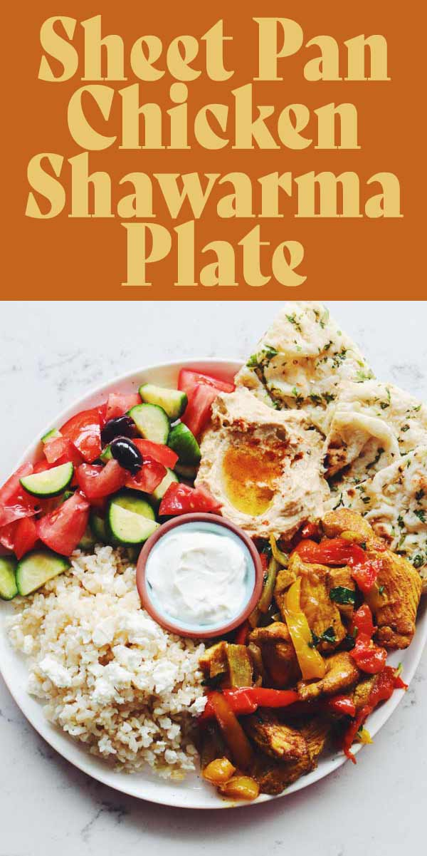 This easy adapted Chicken Shawarma Plate is perfect for an easy weeknight dinner. Not only is this recipe made on a sheet pan but it's also ready in less than 30 minutes. Below, I'll teach you how to make it and will share some easy adaptions to customize your plate with what you have!