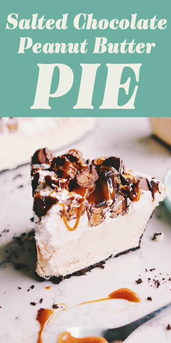 This decadent salted chocolate peanut butter pie is so delicious and so easy. It's made in under 20 minutes with just a few simple ingredients. After an hour or two in the freezer, the results are a decadently rich and delicious pie that your whole family will love!