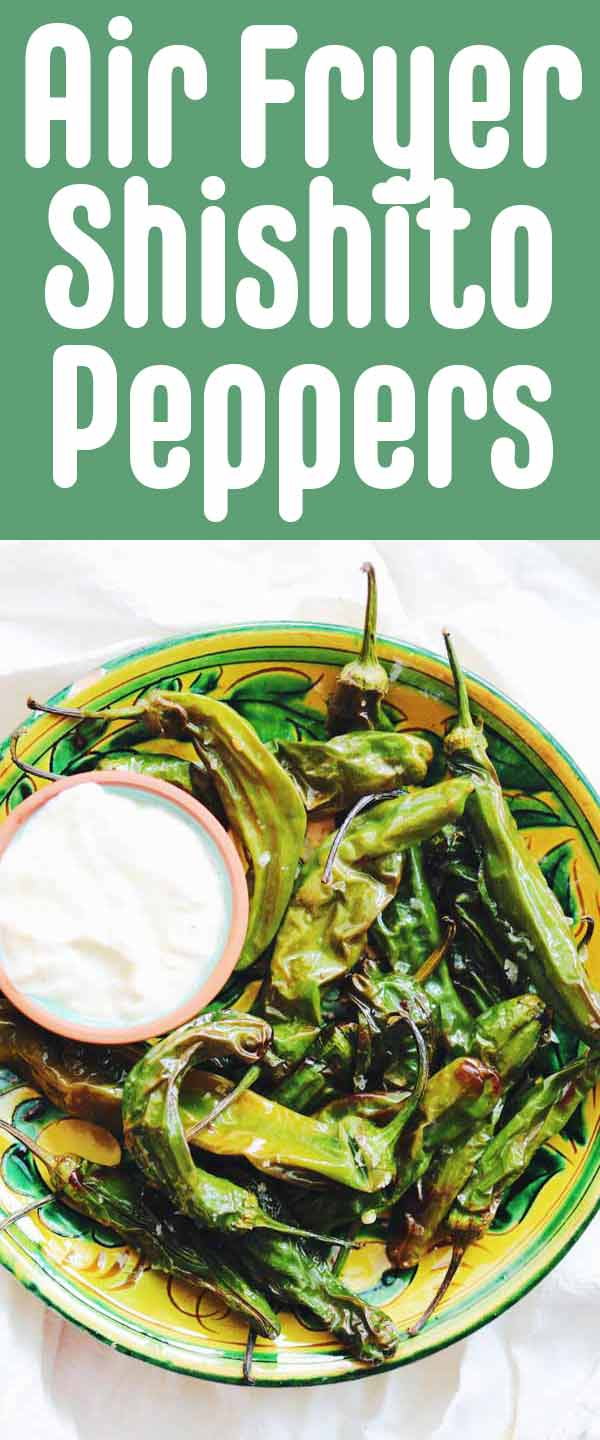 These air fryer shishito peppers are perfectly tender and blistered. And best of all, they're ready in under 10 minutes. I recommend serving them with this super delicious garlic lemon dipping sauce that can be made with mayo or plain greek yogurt. They're a quick, easy, and tasty vegetarian appetizer that's restaurant quality!
