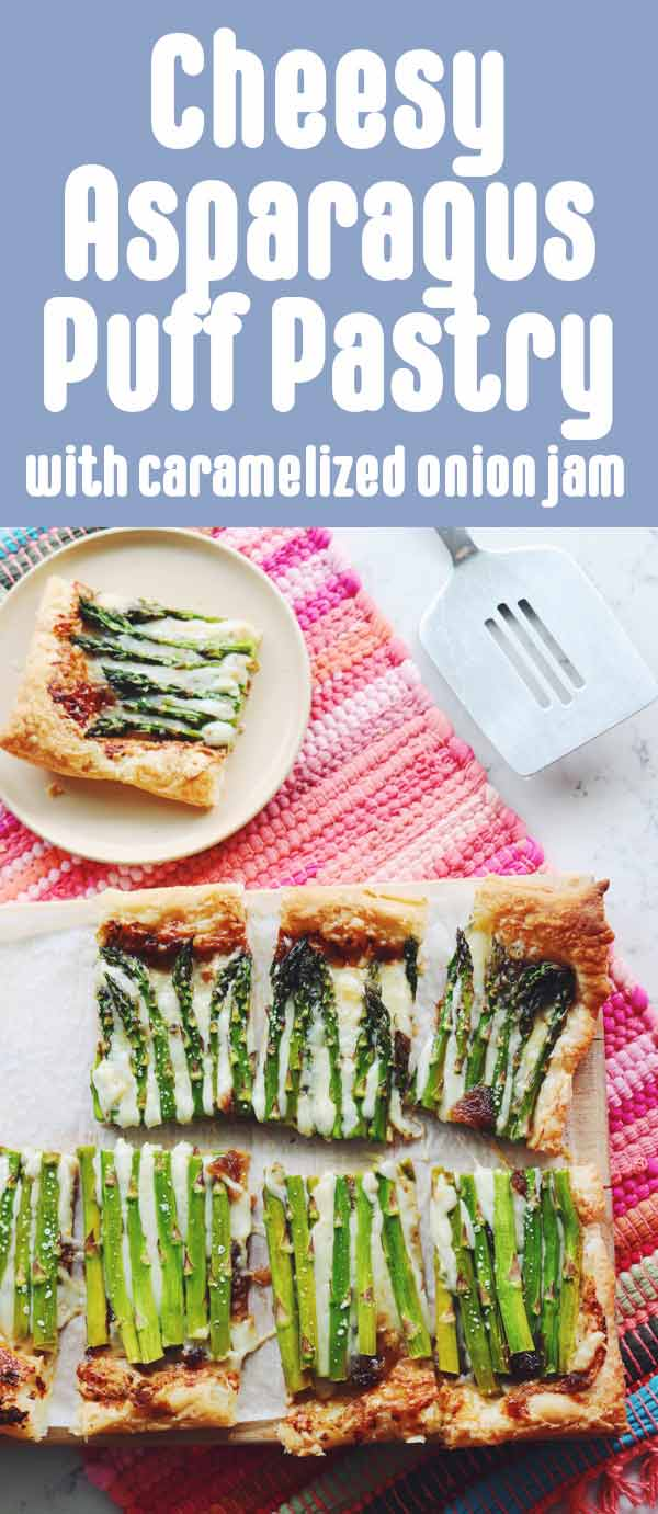 This cheesy asparagus puff pastry with caramelized onion jam is both beautiful and delicious! It's the perfect spring time dish that's great for breakfast, brunch or lunch. And although the caramelized onion jam adds so much flavor, you could substitute it for regular caramelized onions, too!