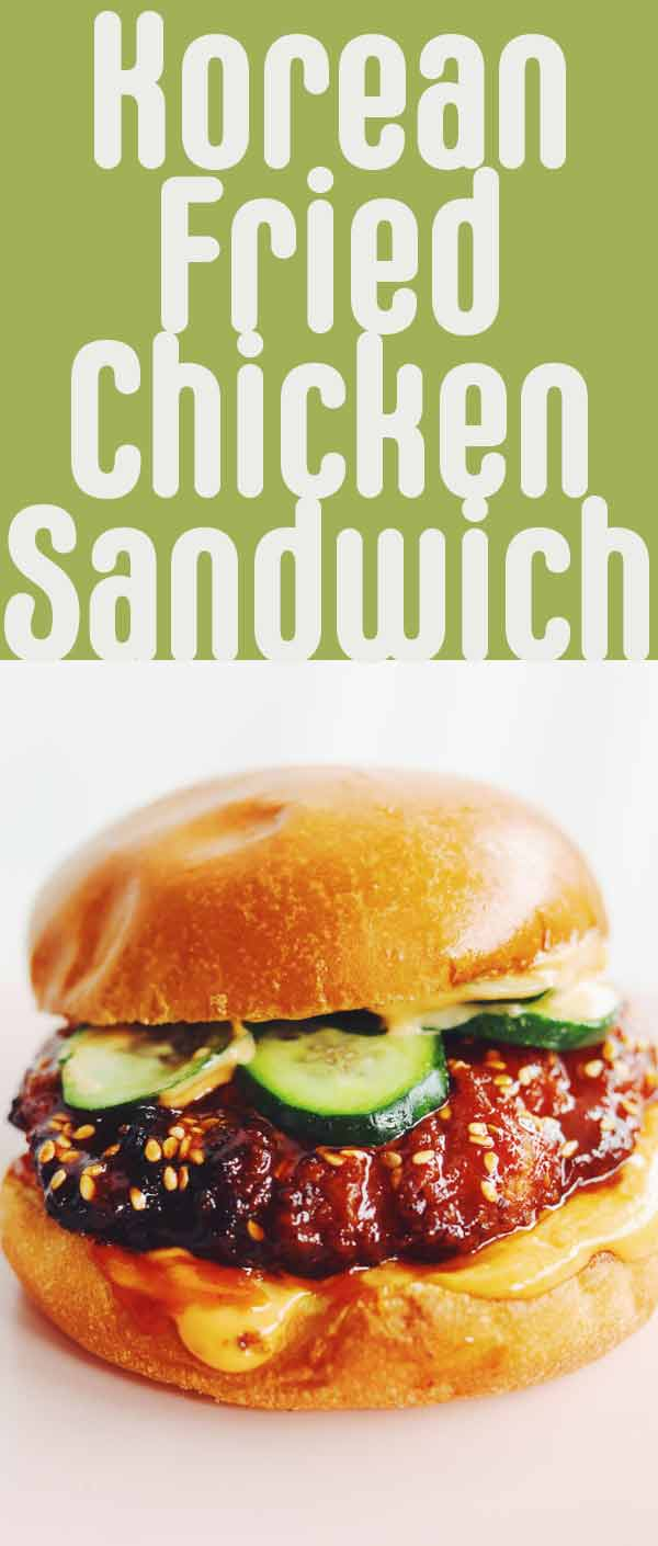 This adapted Korean Fried Chicken Sandwich is made using Aldi's Famous Red Bag Chicken in the Air Fryer. Once the chicken is cooked, it's tossed in a sweet and spicy gochujang glaze. It's then nestled into a spicy mayo slathered toasted brioche bun. The whole thing is ready in 20 minutes and it's a delicious way to use the red bag chicken at home! #sandwich #friedchicken #airfryer #redbagchicken #korean