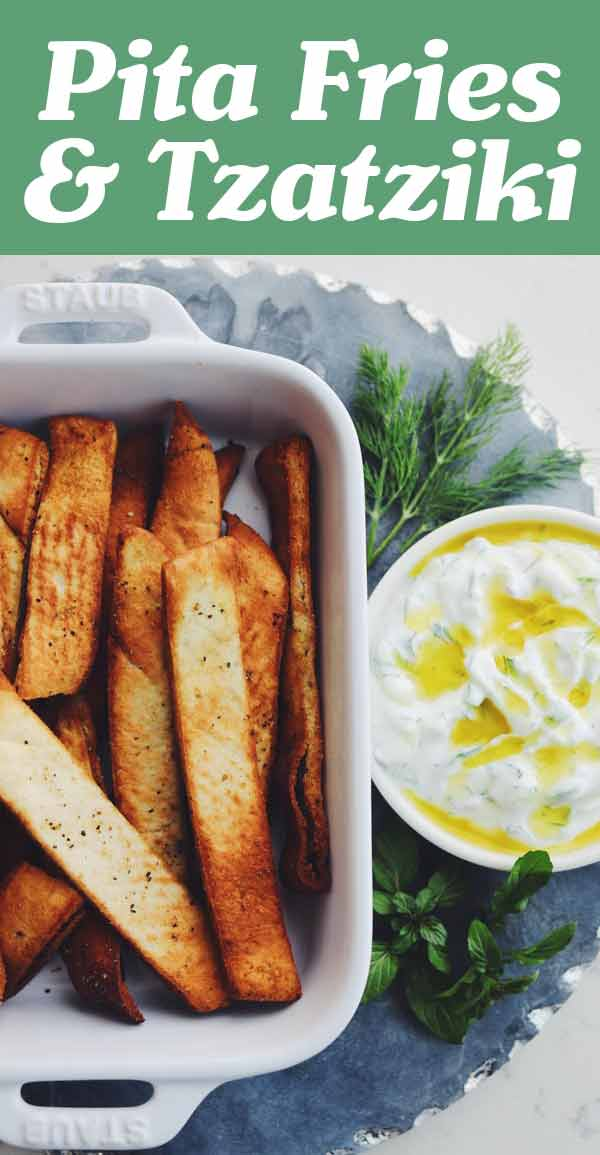 Pita fries with tzatziki is such a fun, easy, and delicious Greek side dish! I recommend making this recipe in the air fryer but you could most definitely make them in the oven if you'd like! The whole recipe is ready in under 15 minutes which makes it even more perfect! Be sure to save the extra tzatziki for fresh veggies, sandwiches, salads and more!
