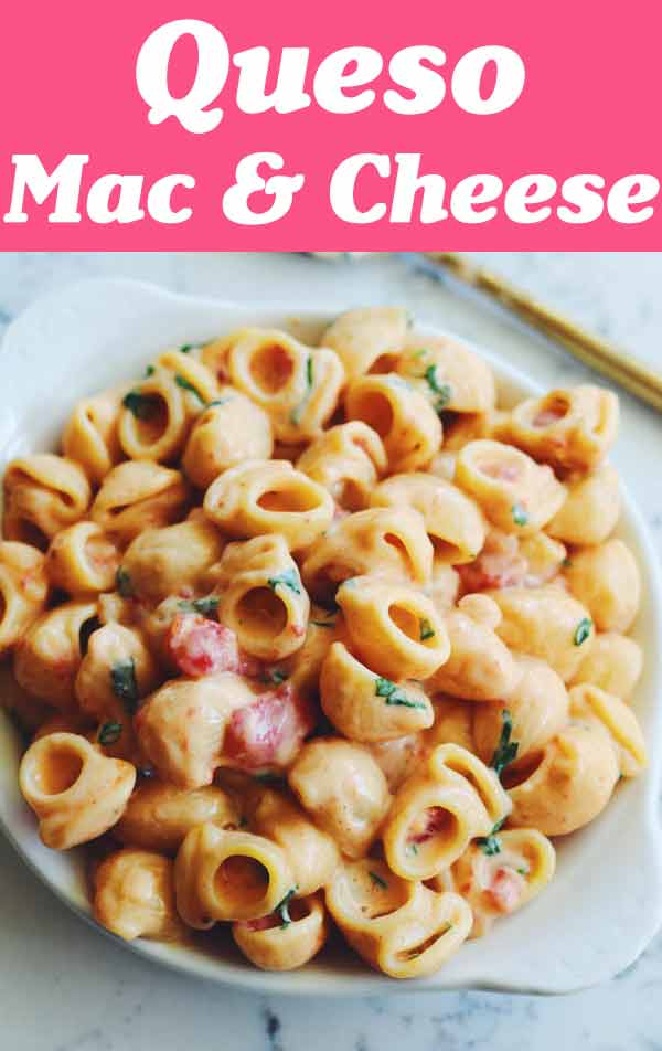 This Queso Mac and Cheese makes the perfect Mexican dinner side dish! All you need is 30 minutes and some velveeta, rotel, red onion, milk, cilantro and pasta. t's made using the baked feta pasta method so you know it'll be fail-proof, too! It's so easy and so delicious -- you'll love it!