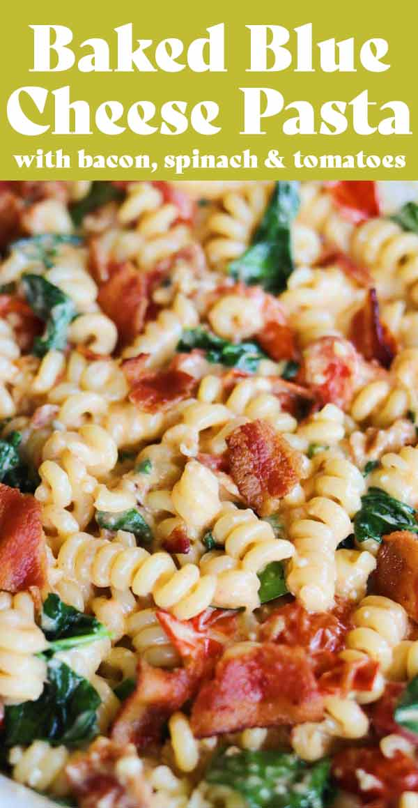This baked blue cheese pasta with bacon, tomatoes and spinach is my new favorite! It takes the baked feta pasta approach to a whole new level that's reminiscent to a steakhouse style mac and cheese! It's quick, easy, and packed full of flavor! Even non-blue cheese lovers will adore it!