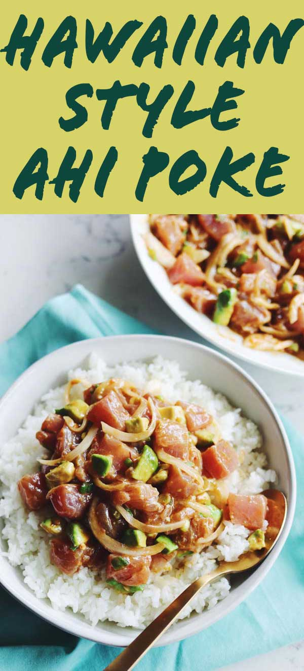 This spicy ahi (also known as bluefin)tuna poke recipe is simple, fresh, and delicious. It's inspired by the Hawaiian poke bowls that my husband enjoyed while traveling as a teenager. Best of all, the whole thing comes together in under 30 minutes with minimal ingredients!