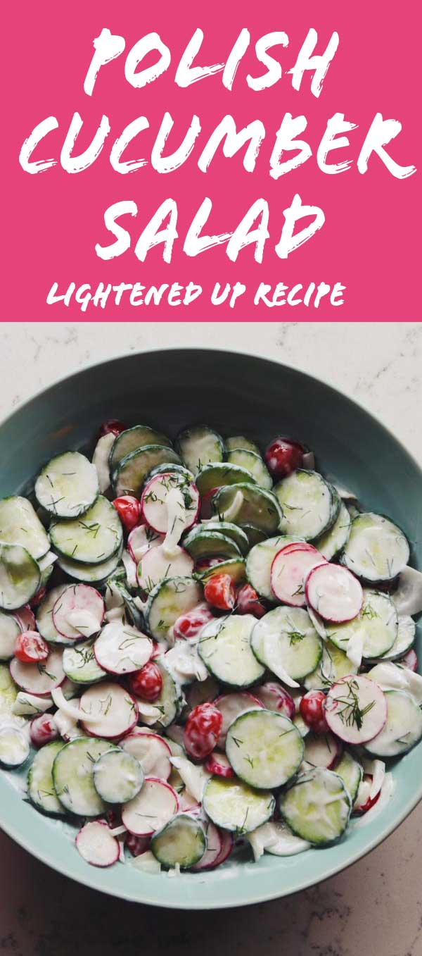 This lightened up Polish Cucumber Salad is crisp, refreshing and tasty! Traditionally, this salad (also known as Mizeria) uses sour cream and doesn't have tomatoes or onions. However, I wanted something a little bit healthier so I made some simple adaptions.