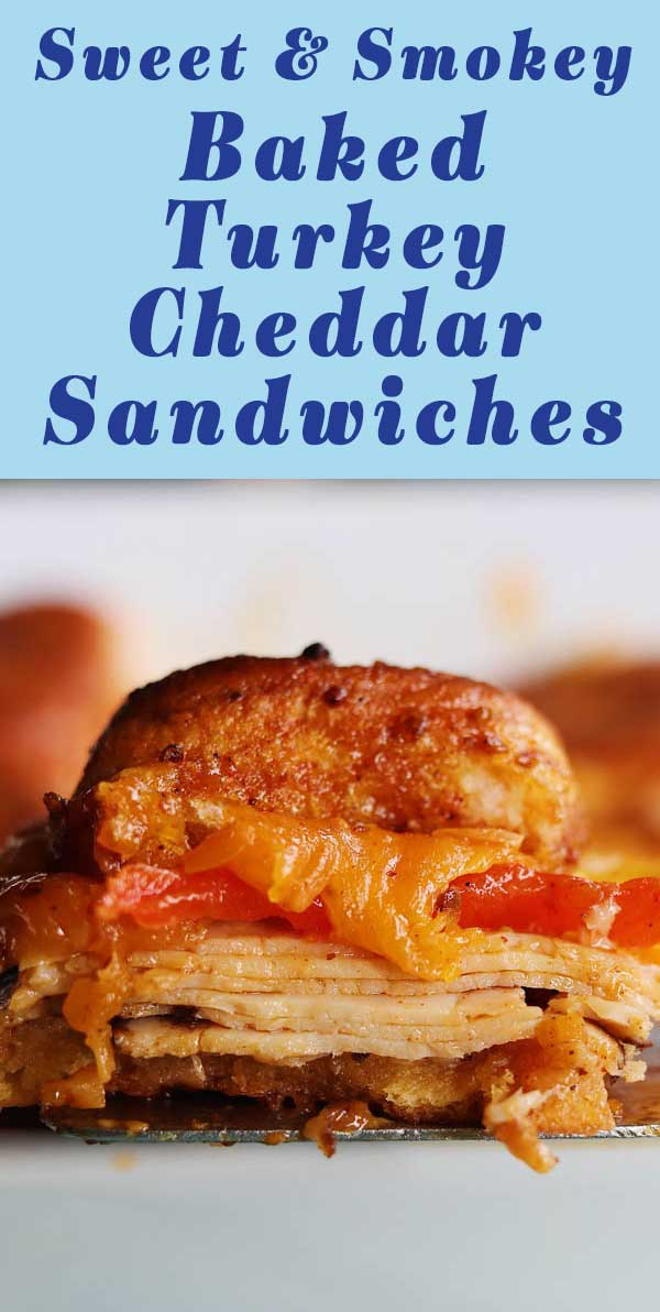 These sweet and spicy smoked turkey and cheese sliders will literally make your life better! They're made in under 30 minutes using deli style smoked turkey breast, smoked cheddar, cherry peppers and a sweet and smokey brown sugar chili glaze that's baked onto fluffy Hawaiian buns! If you like my funeral sandwiches recipe that's viral on pinterest, you will LOVE these!