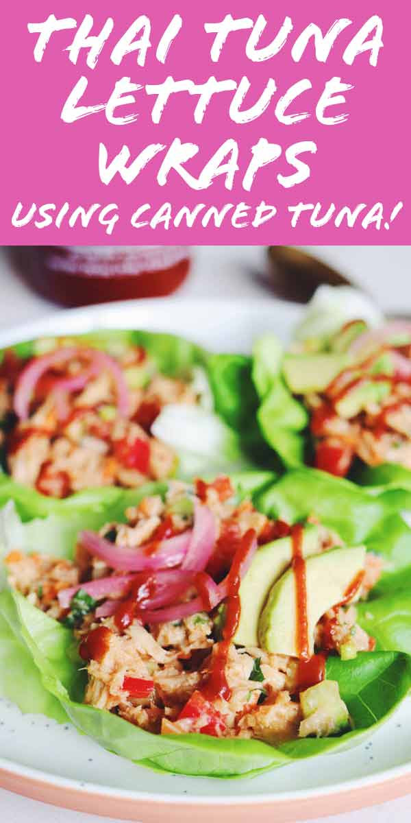 These Thai inspired Canned Tuna Lettuce Wraps will be going on repeat in our house ALL SUMMER LONG! To keep it simple, I whipped up an easy peanut sauce vinaigrette and added some fresh chopped veggies and herbs to some high quality canned tuna. It's such an easy recipe that you will LOVE!