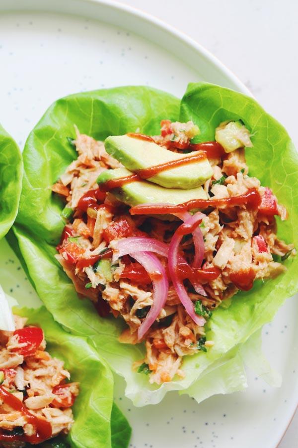 thai canned tuna lettuce wraps