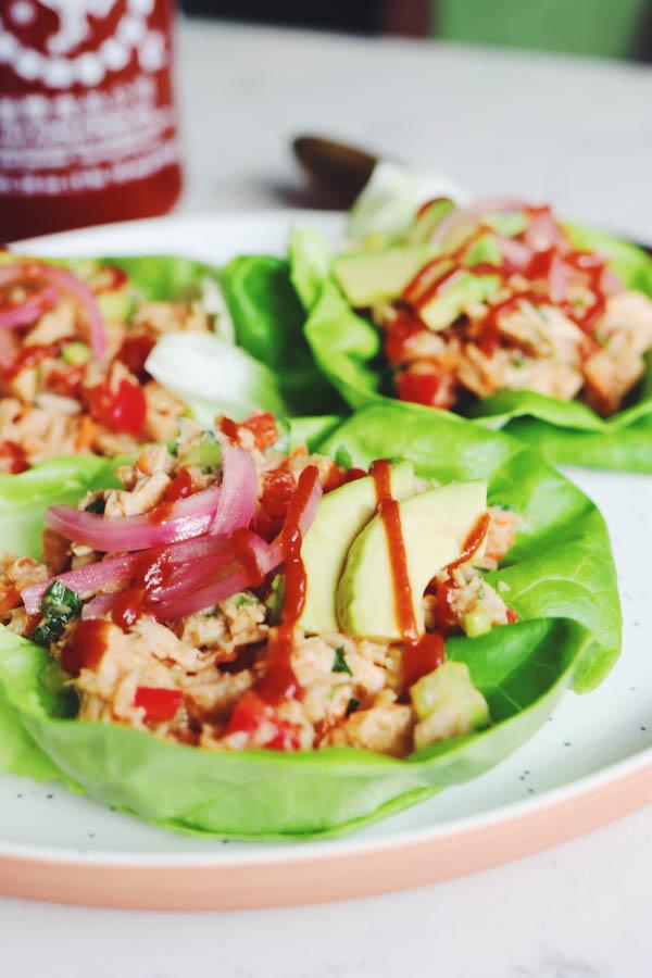 thai inspired tuna lettuce wraps