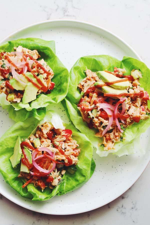 canned tuna lettuce wraps