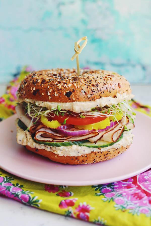 hummus bagel sandwich