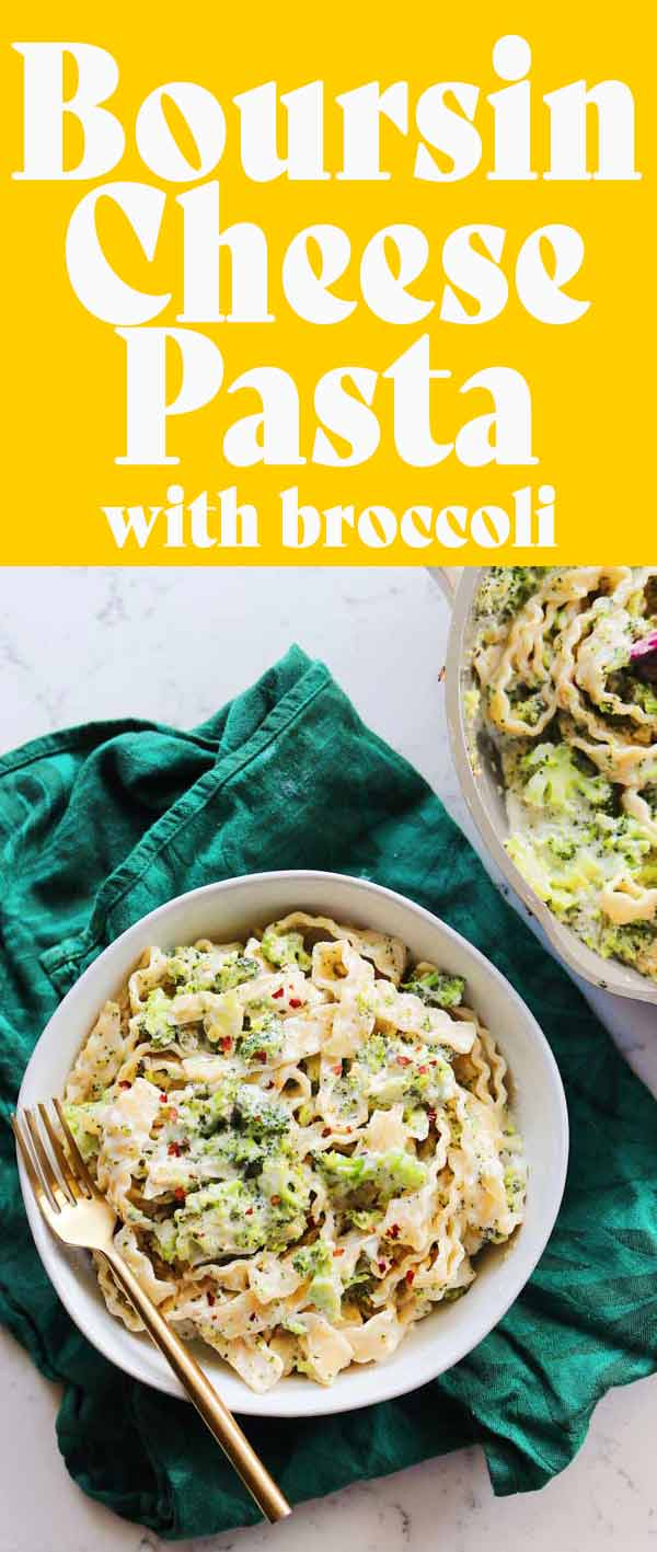 This Boursin cheese pasta with broccoli might be the easiest, cheesiest pasta recipe I've ever shared! With just a few ingredients, this tasty pasta comes together in about 20 minutes.