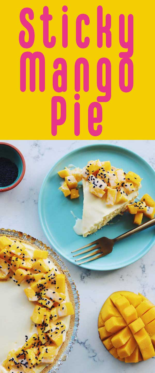 This no bake Mango Sticky Pie is going to be the star of the show at my daughter Poppy's first birthday party! Not only are mangos nutritious and delicious, but they also make a perfectly sweet pie that's fun to eat and easy to make!