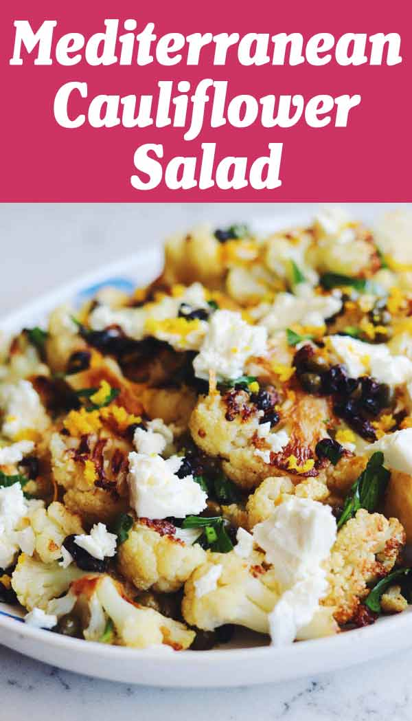 This Mediterranean Cauliflower Salad is inspired by Sicily's bold, bright, acidic, and sweet and balanced flavors. Simple oven roasted cauliflower is tossed with a tasty vinaigrette that's made with dried currants, capers, parsley, lemon, garlic and honey. I like to add feta and orange zest on top because I love cheese way too much.