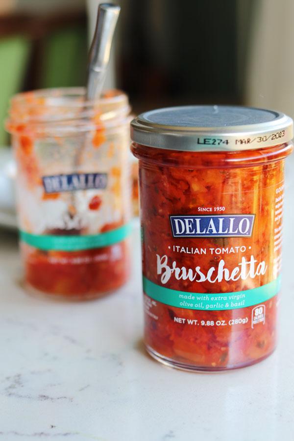 a jar of delallo bruschetta