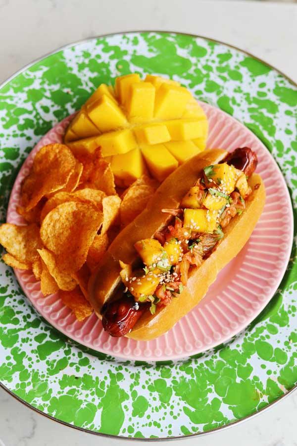 mango kimchi hot dogs