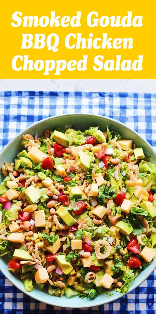 This BBQ Chicken Salad is even better than Panera, CPK and Cheesecake Factory! I know it's quite the claim, but trust me - it's SO good! Loaded with bbq chicken, smoked gouda, and tons of fresh veggies, this salad is hearty, filling, and the opposite of boring. #salad #bbqchicken #barbecue #chickensalad #heartysalad #lunch