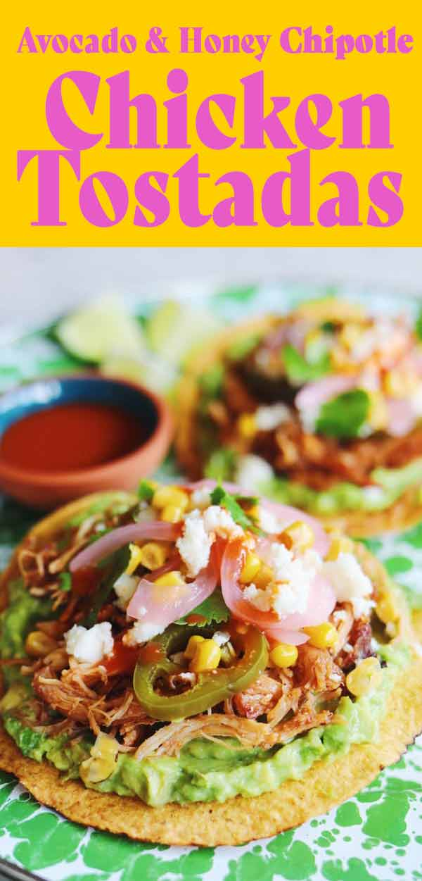 These tostadas de pollo (aka shredded chicken tostadas) are so easy and delicious! Shredded chicken breast is tossed in an easy honey chipotle sauce and piled onto crispy tostada shells with lots of tasty toppings! If you want something more traditional, you could toss the chicken in my favorite tinga sauce or even some salsa or enchilada sauce.