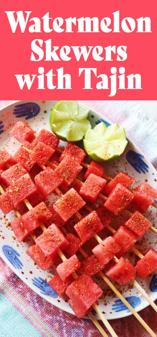Watermelon with Tajin is one of my favorite summertime treats! Tajin, which is a spicy, sour and salty Mexican seasoning blend is delicious on pretty much everything you put it on... but when it comes to watermelon, well it's my favorite! The contrasting flavors make the watermelon taste even sweeter and more delicious. And serving this combo on skewers make everything more fun!