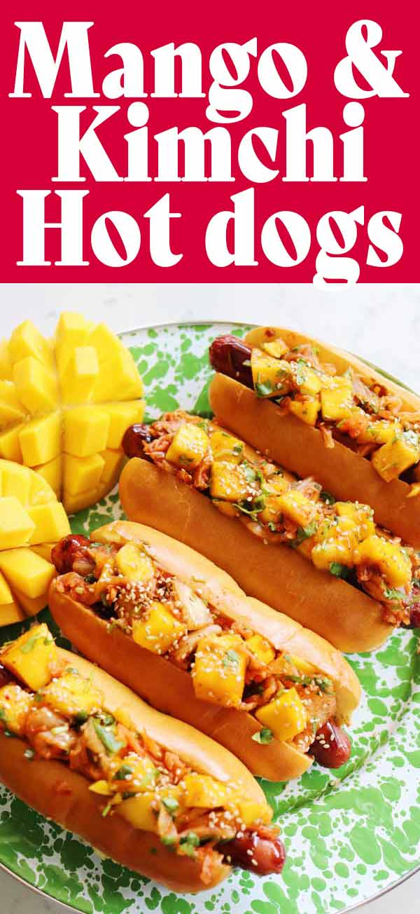These mango kimchi grilled hot dogs are packed full of summertime flavors! The sweetness from the mango pairs perfectly with the spicy acidity from the kimchi. And, the hot dog provides the perfect salty balance! It's the ultimate, colorful summer grilling recipe!