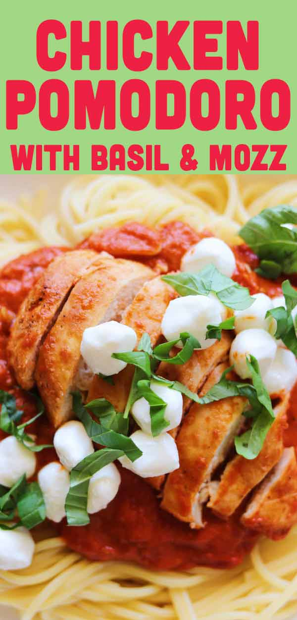 This creamy Chicken Pomodoro recipe is a super simple, super fresh and super delicious dish! Serve it over pasta or as a main dish with veggies. The whole thing comes together in under an hour and the results are so good! You'll love it!