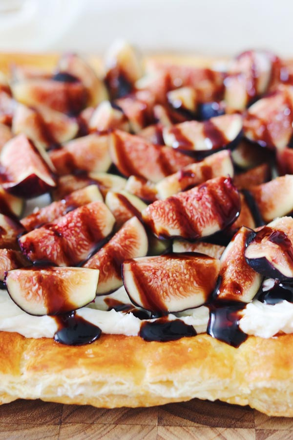 fig tart with honey whipped goat cheese