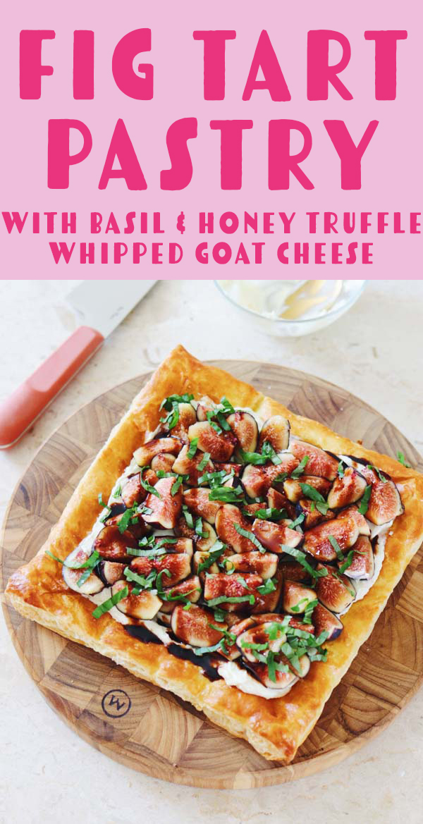 This fig tart with honey whipped goat cheese is one of my favorite recipes. It's perfect for brunch, breakfast, entertaining, appetizers and more! I love it because light and fresh yet rich and creamy. I like recommend it with balsamic glaze, basil and flaky salt. And if you're not a truffle fan, simply leave it out! #fig #appetizer #goatcheese #whippedgoatcheese #breakfast #brunch #tart #easyrecipe #summerrecipes