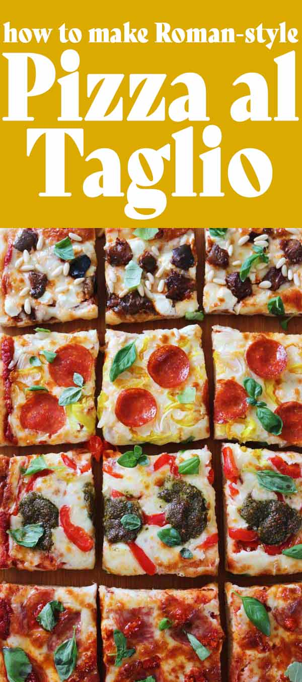 Pizza al taglio is a large, Italian style rectangular pizza that's absolutely delicious. The dough is light and airy yet has a crispy crust on the bottom. Since it's so big, I love mapping out four different flavor zones. Once baked, it's sliced into squares and reheated as necessary.