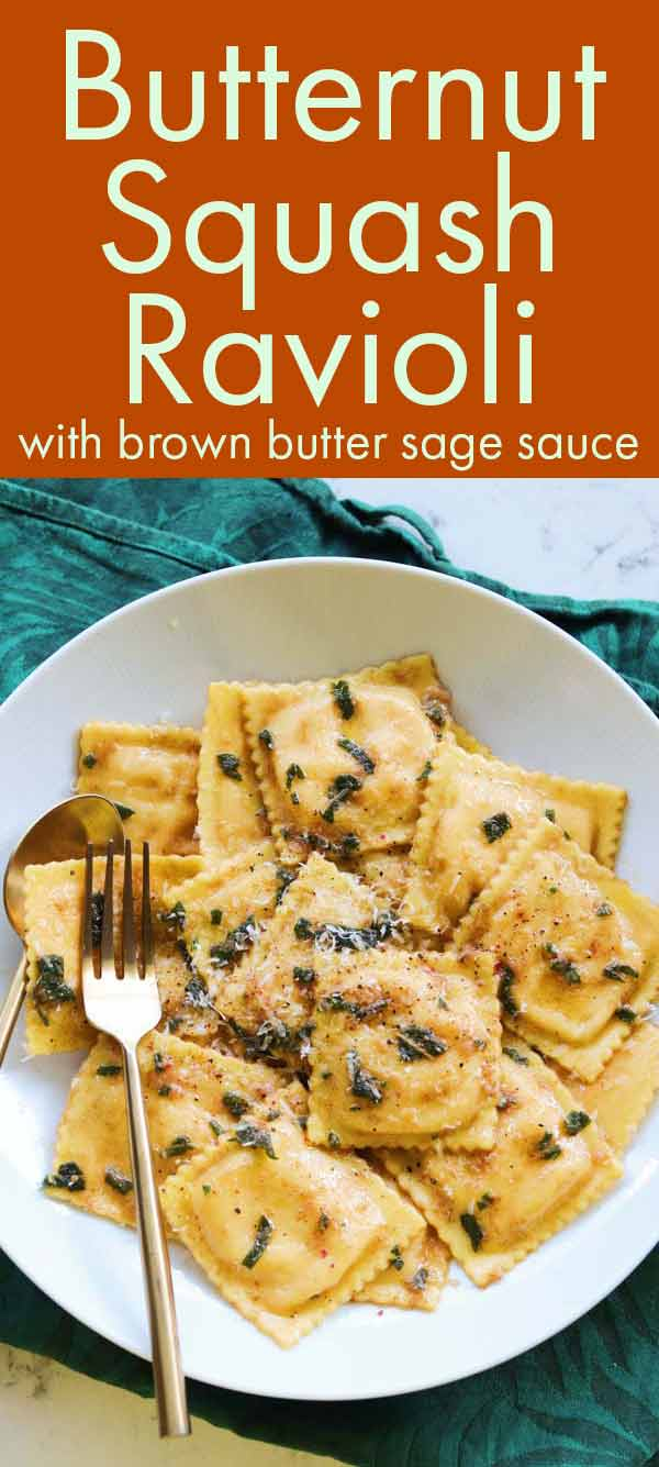This Trader Joe's Butternut Squash Ravioli recipe is ready in under 10 minutes. The sauce is made of browned butter, crispy sage and lots of parmigiano cheese. It's a quick and easy recipe that's also decadent and rich. It's my favorite way to cook these ravioli! #traderjoes #butternutsquash #fallfood #fallrecipe #ravioli #brownbutter